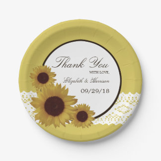 Sunflowers and Vintage Lace Wedding 7 Inch Paper Plate