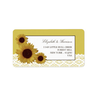Sunflowers and Vintage Lace Wedding Address Label