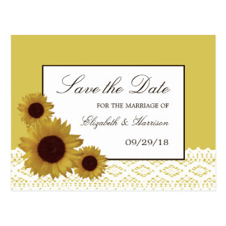 Sunflowers and Vintage Lace Wedding Save The Date Postcard
