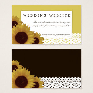 Sunflowers and Vintage Lace Wedding Website Business Card