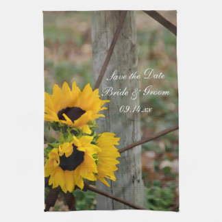 Sunflowers and Wagon Wheel Wedding Save the Date Tea Towel