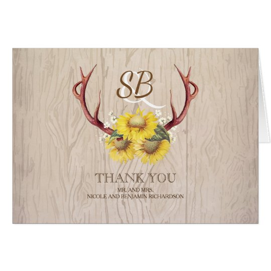 Sunflowers Antlers Rustic Wood Wedding Thank You Card