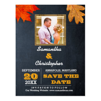 Sunflowers & Barnwood Gold Wedding Save the Date Postcard