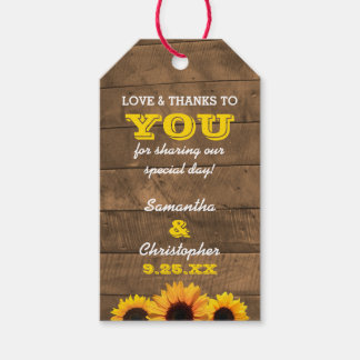Sunflowers & Barnwood Gold Wedding Thank You Tags