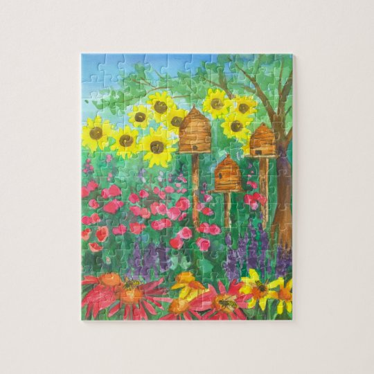 Sunflowers Bee Skep Garden Jigsaw Puzzle