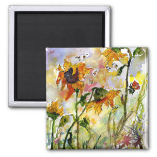 Sunflowers & Bees Magnet by Ginette