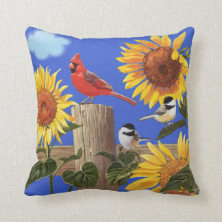 Sunflowers Birdies & Butterflies. Cushion