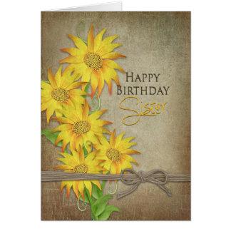 Sunflowers - Birthday - Sister Card