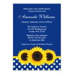 Sunflowers Blue and White Polka Dot Bridal Shower 13 Cm X 18 Cm Invitation Card