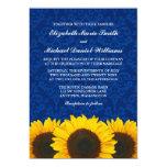 Sunflowers Blue Damask Wedding Personalised Invite