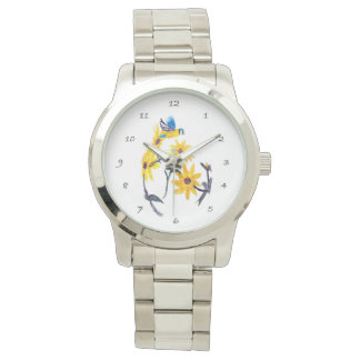 Sunflowers Bluetit Floral Art Watch