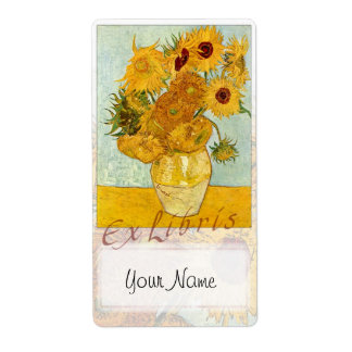"Sunflowers Book Plate ""Ex Libris"" - Updated Shipping Label"