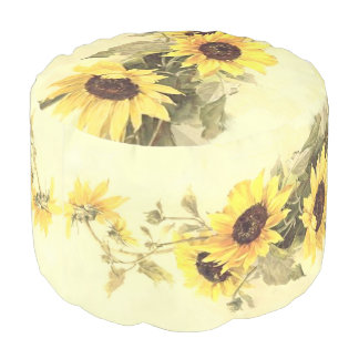 Sunflowers by Catherine Klein Round Pouf