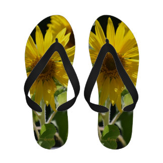 """Sunflowers"" by mysteryella Flip Flops"