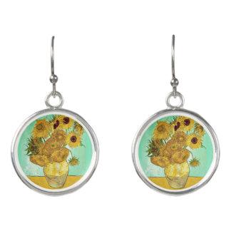 Sunflowers by Van Gogh - Dangling Earrings