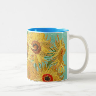 Sunflowers by Van Gogh Two-Tone Coffee Mug