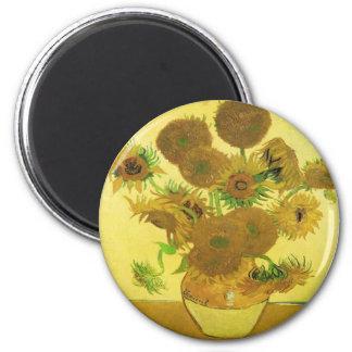 Sunflowers By Vincent Van Gogh 6 Cm Round Magnet