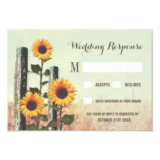 Sunflowers Carved Fence Post Wedding RSVP Cards