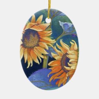 sunflowers ceramic ornament