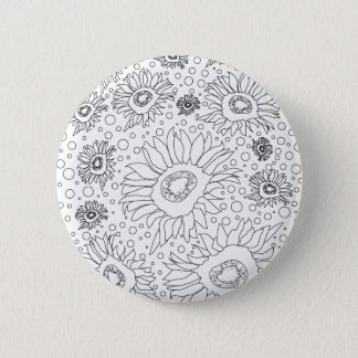 Sunflowers Coloring Page 6 Cm Round Badge