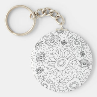 Sunflowers Coloring Page Basic Round Button Key Ring