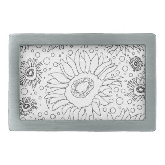 Sunflowers Coloring Page Belt Buckles