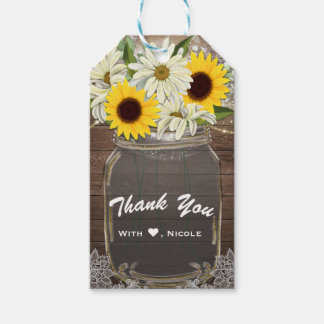 Sunflowers & Daisies Mason Jar Sparkle Rustic Chic Gift Tags