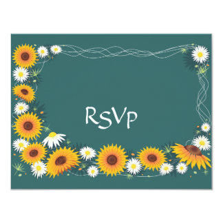 Sunflowers & Daisies Wedding Invitation RSVP Card
