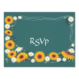 Sunflowers & Daisies Wedding Invitation RSVP Card