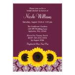 Sunflowers Deep Mulberry Damask Bridal Shower Invitations