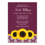 Sunflowers Deep Mulberry Damask Bridal Shower 13 Cm X 18 Cm Invitation Card