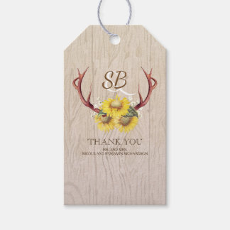 Sunflowers Deer Antlers Rustic Country Wedding Gift Tags