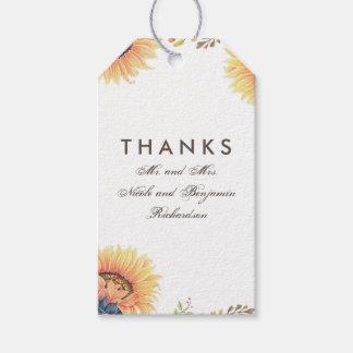Sunflowers Fall Wedding Gift Tags