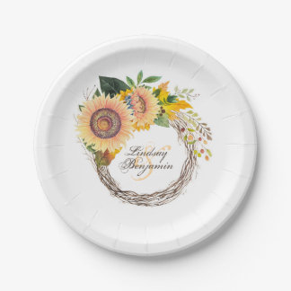 Sunflowers Fall Wreath Rustic Wedding Paper Plate