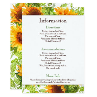 Sunflowers Floral Wedding Information Details Card