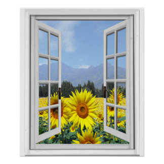 Sunflowers Garden Faux Artificial Window View Poster