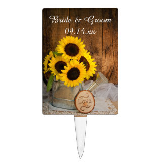 Sunflowers Garden Watering Can Wedding Cake Toppers