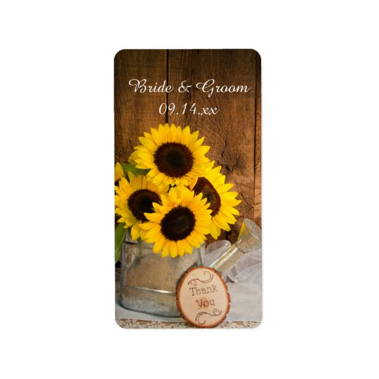 Sunflowers Garden Watering Can Wedding Thank You Address Label