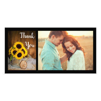 Sunflowers Garden Watering Can Wedding Thank You Card