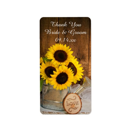 Sunflowers Garden Watering Can Wedding Thank You Label