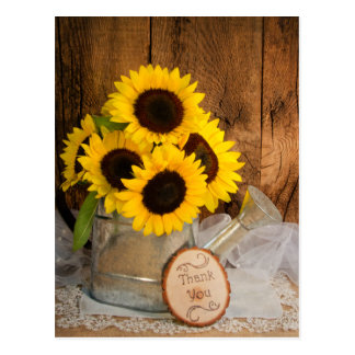 Sunflowers Garden Watering Can Wedding Thank You Postcard