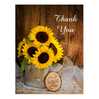 Sunflowers Garden Watering Can Wedding Thank You Postcards