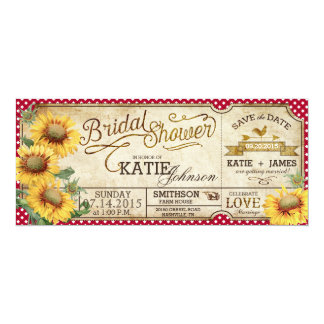 Sunflowers Gingham Country Picnic Bridal Shower 10 Cm X 24 Cm Invitation Card