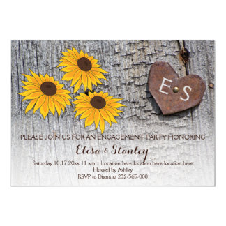 Sunflowers, heart on wood engagement party wedding card