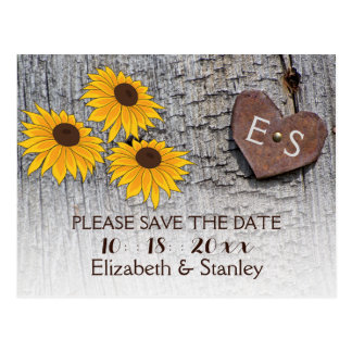 Sunflowers & heart on wood wedding Save the Date Postcards