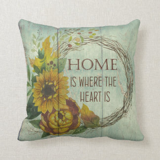 Sunflowers Home is where the Heart is Quote Throw Pillow