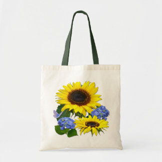 SUNFLOWERS & HYDRANGEAS ~ Budget Tote Canvas Bags