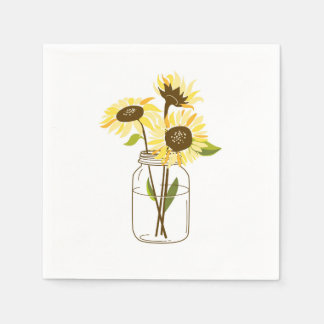 Sunflowers In A Mason Jar Paper Napkins