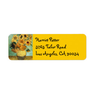 Sunflowers in a Vase (F455) Van Gogh Fine Art Return Address Label