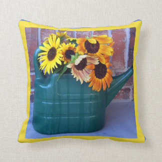 Sunflowers in a Watering Can Cushion